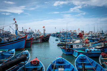 Traditional fishing boats moored in a harbour, Vietnam