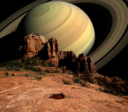 Conceptual view of Saturn Rising behind Cathedral Rock, Sedona, Arizona, USA