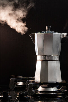 Steaming Moka Pot on a gas stove