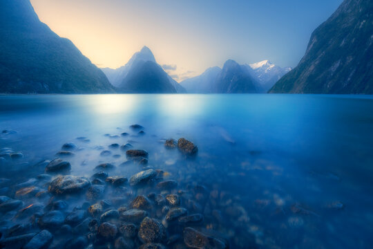 Fiordland National Park at sunset, Milford Sound, South Island, New Zealand