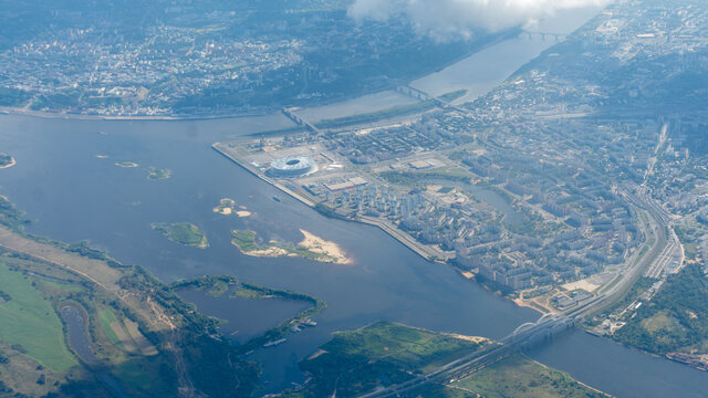 View of Nizhny Novgorod from the plane window
