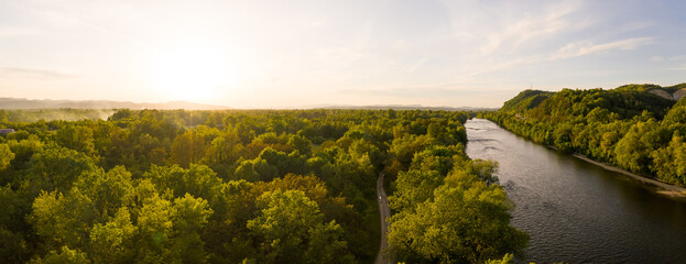 Panoramic aerial view of Sava river during scenic sunset, Zagreb, Croatia.
