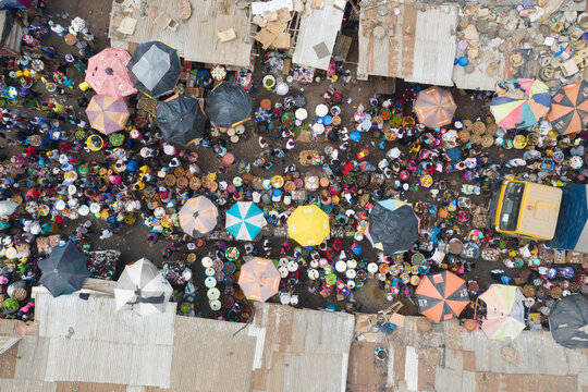 Waterloo, Sierra Leone - 22 February 2020: Aerial view of people at a community market