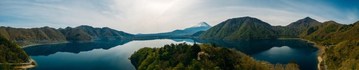 Panoramic aerial view of Lake Saiko and Mt. Fuji in Japan, Asia.