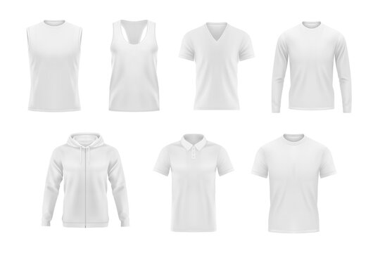 Men clothes vector tshirt, hoodie and polo shirt with singlet and longsleeve apparel mockup. Realistic 3d male garment and underwear white template. Blank clothing design, outfit isolated objects set