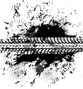 Offroad tyre print and grunge spot, vector black dirty tire trace for automobile service or off road race competition design. Rally, motocross dirty tire pattern, grungy vehicle trail isolated texture