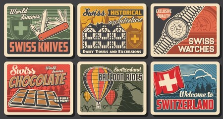 Swiss famous objects and landmarks, vector knife, watches, farvecht houses architecture and chocolate, air balloons rides and Switzerland travel to alps mountains resorts. Swiss culture, tours posters Fotobehang