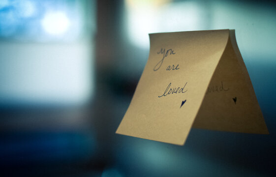 Love note left on a mirror saying You are Loved