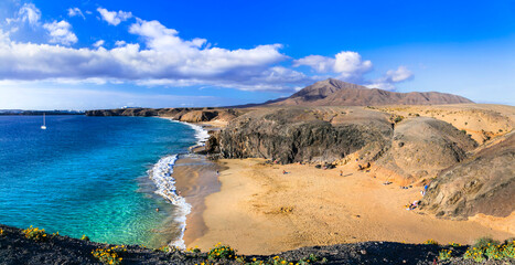 Scenic nature and beautiful beaches of volcanic Lanzarote. Papagayo beach. Canary islands