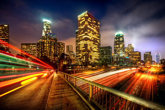 Cityscape at night of Los Angeles