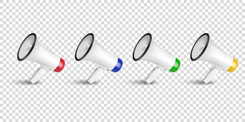 Vector Realistic 3d Simple White Megaphone Icon Set Closeup Isolated on Transparent Background. Design Template for Banner, Web, App, Advertising, Sale, Announcement