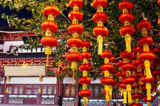 Lanterns hanging in Yuyuan Bazaar district at night, Shanghai, China
