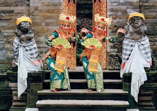 Portrait of Legong dancers, Bali, Indonesia, Southeast Asia, Asia
