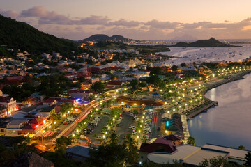 West Indies, Caribbean, Lesser Antilles, Leeward Islands, French West Indies / Netherlands Antilles, St Martin - Saint Martin / Sint Maarten, elevated view over the French town of Marigot from Fort St. Louis