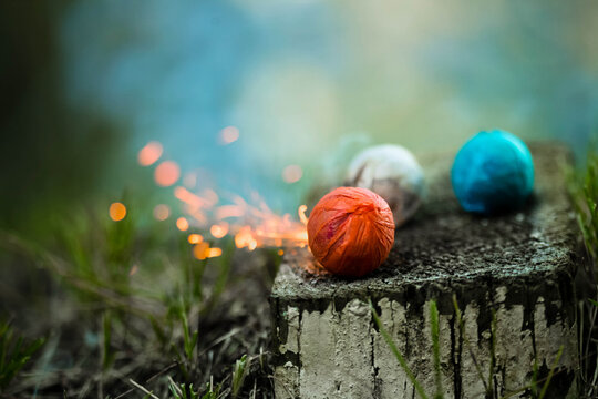 Colorful smoke bombs and sparks