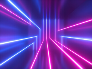 3d render, abstract geometric background, pink blue violet neon light, chaotic glowing lines, laser rays inside dark room. Futuristic technology