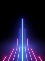 3d rendering of vertical glowing lines isolated on black background. Neon light rays. Abstract minimal geometric design. Virtual reality futuristic graphics. Ultraviolet spectrum.