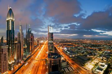 City skyline view over Dubai, United Arab Emirates
