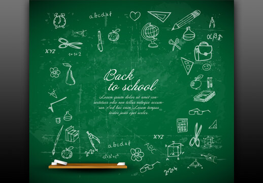Back to School Poster Digital Flyer with Green Board and Chalk Icons