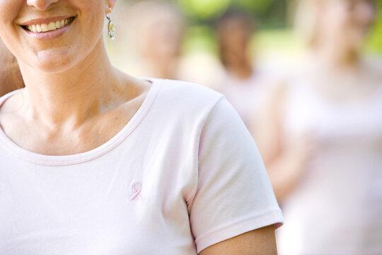Charity Walk: Focus on Pink Ribbon on Shirt