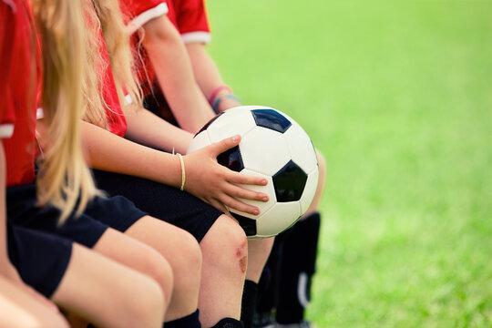 Soccer: Anonymous Girl Holds Soccer Ball