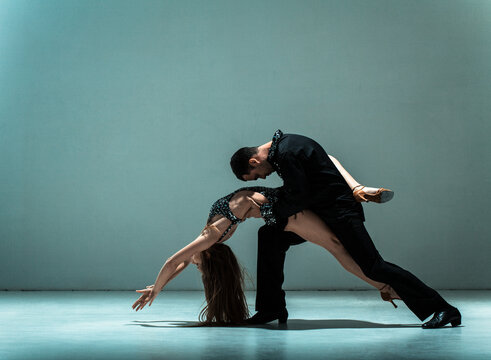 Young couple of professional dancers.