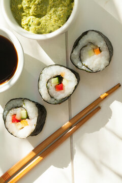 Vegetarian sushi on the table.