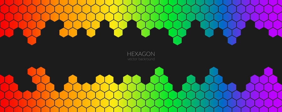 Lgbt pride. Vector abstract hexagonal rainbow background. The concept of sexual tolerance, ending homophobia, same-sex relationships, homosexuality. Hex in rainbow colors. Copyspace.
