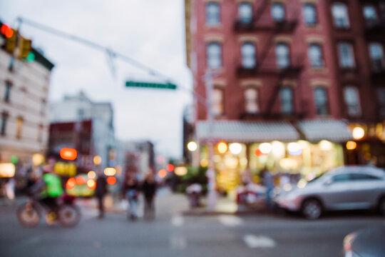 Blurry view of New York City street