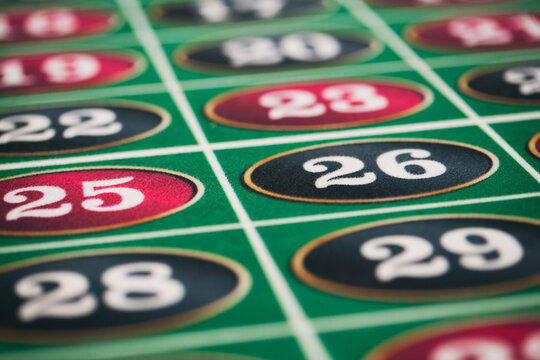 Casino: Numbers On A Roulette Table Wait For Bets