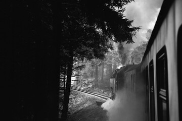 Black and white image of steam locomotive