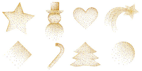 golden glitter border christmas decoration set