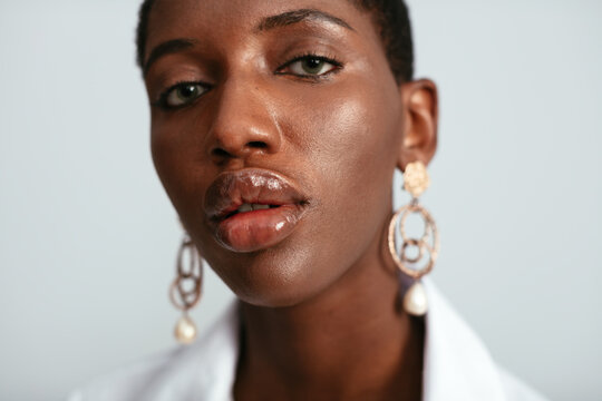 Black woman with plump lips