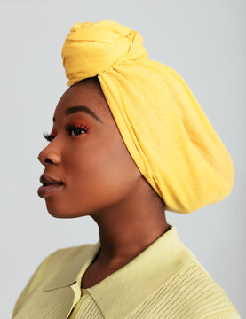 Beautiful Black Female In Traditional Headscarf