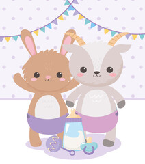 baby shower, cute rabbit goat with pacifier rattle and bottle milk, celebration welcome newborn
