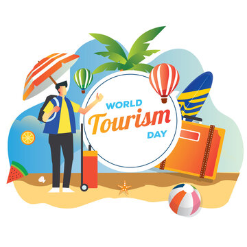 world tourism day with a man backpacker in beach with tropical vibes