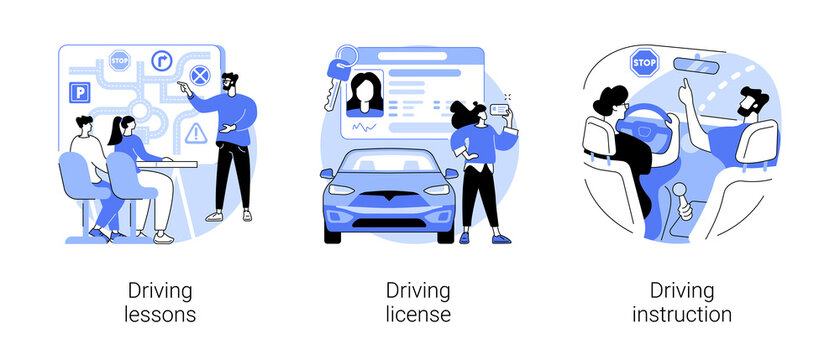 Driving school abstract concept vector illustration set. Driving lessons and instruction, driving license, passing test, ID card, international permit, exam preparation, certificate abstract metaphor.