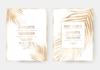 Gold tropical palm leaves frames design invitation template background.