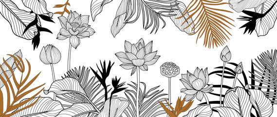 Luxury golden art deco wallpaper. lotus  background vector. Floral pattern with golden tropical flowers, monstera plant, Jungle plants line art on white background. Vector illustration.