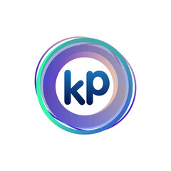 Obraz Letter KP logo with colorful circle, letter combination logo design with ring, circle object for creative industry, web, business and company. - fototapety do salonu