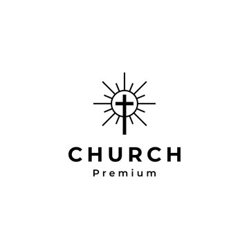 Minimalist Church line art logo design vector illustration