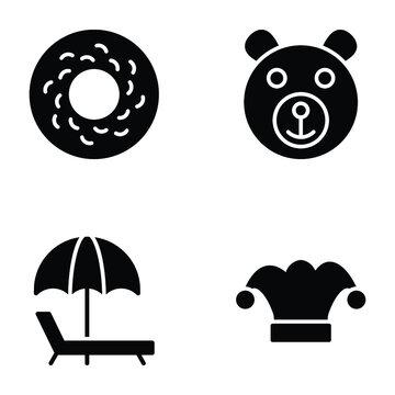 Kids Fun Glyph Icons Set