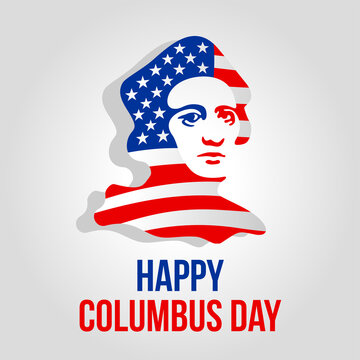 Happy Columbus Day - vector picture for national holiday with flag of USA