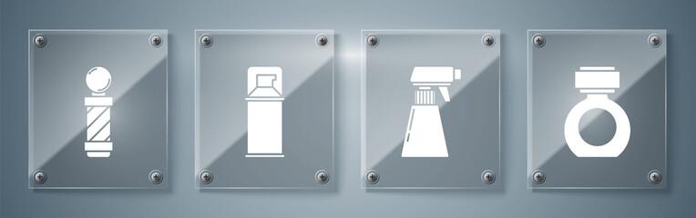 Set Aftershave, Hairdresser pistol spray bottle, Shaving gel foam and Classic Barber shop pole. Square glass panels. Vector.
