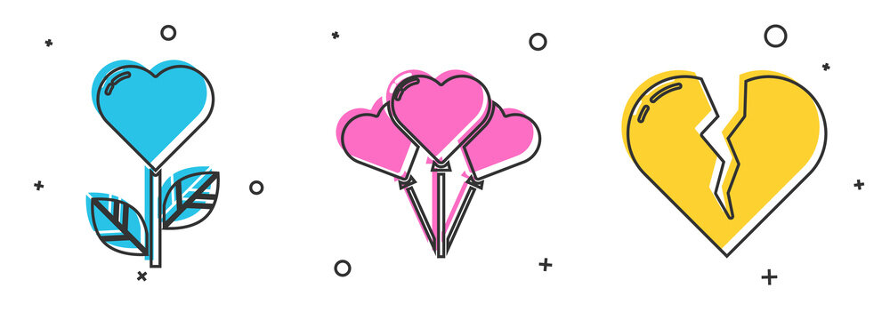 Set Heart shape in a flower, Balloons in form of heart and Broken heart or divorce icon. Vector.