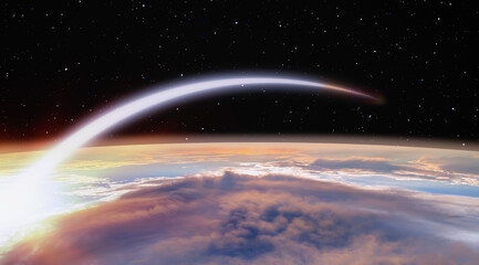 Wall Mural - Planet Earth with a spectacular sunset -  Long Exposure Night Time Rocket Launch
