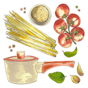 Pasta spaghetti, tomatoes, pot, garlic, basil - watercolor hand-drawn cooking set isolated on white background.