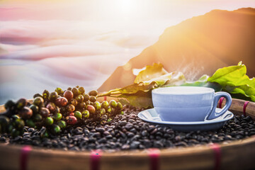 Hot coffee cup with fresh organic coffee beans and the roasted coffee beans on the wooden table and Background with mountains and sea fog, cool morning air.