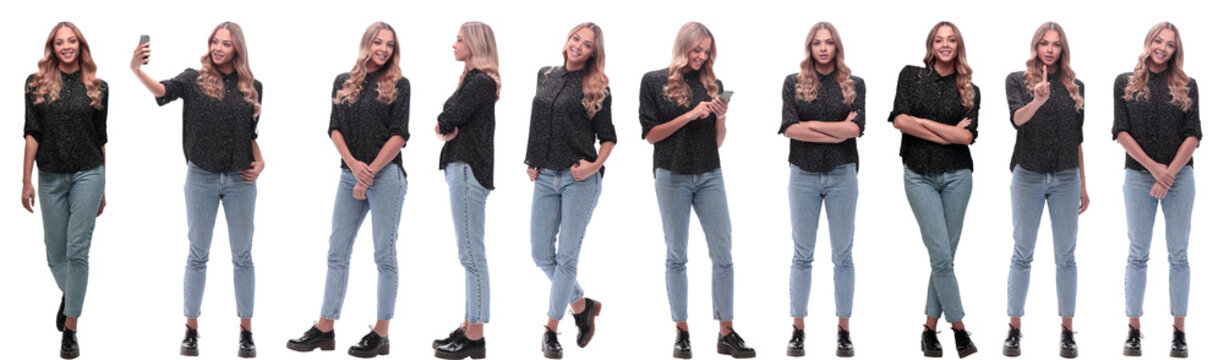 photo collage of a modern young woman with a smartphone