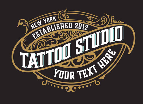 Tattoo logo template. Old lettering on dark background with floral ornaments.